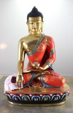 One of a Kind Spectacular Hand Painted Shakyamuni Statue Gautama Buddha, Buddha Buddhism, Buddha Art, Tibetan Buddhism, Buddhist Philosophy, Buddha Painting, Divine Mother, Gold Face, Buddhist Temple