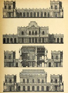Elevations and sections for a Palais de Campagne of the 18th century, France