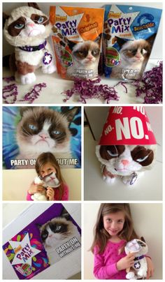Grumpy Cat 2nd Birthday Bash Party Kit   CatchMyParty.com  Very fun!! Grumpy Cat Birthday, Party Themes, Party Ideas, Party Mix, Sites Online, Cat Party, Cat 2, 10th Birthday, Diy For Teens