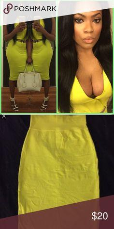 Bebe Lime Green Skirt & Top Sexy lime skirt and silk shirt bebe Skirts Midi