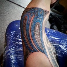 Blue Ink Maori Male Tattoo On Arm