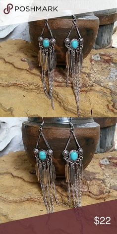 "Long Dangle Boho Earrings Southwestern inspired earrings with chain and feather fringe tassel dangle, faux turquoise center. 5"" long. Bohemian, Hippie, Western ■PRICE FIRM UNLESS BUNDLED  ■ I DO NOT TRADE Boutique  Jewelry Earrings"