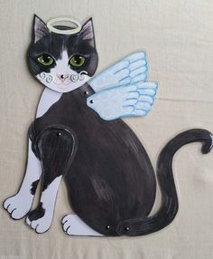 Tuxedo Cat Wall Art ~Articulated Laminated Paper Doll Cat ~KittyCat Studio in Collectibles, Animals, Cats, Posters, Prints & Paintings | eBay