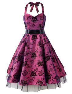 Floral 50s Swing Rockabilly Party Halter Prom Dress (US18, Purple Flock)