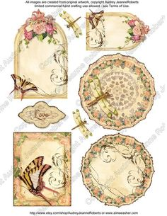 Watercolor Clipart Clip Art Victorian Rose Butterfly Dragonfly AJR-036 gift tag…
