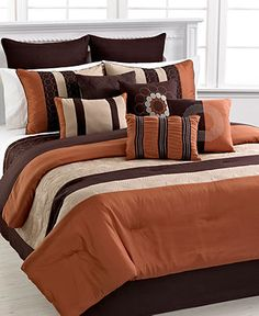 SELECTED Bed spread type: White egyptian cotton with orange/ brown pillows and throws Elston 12 Piece Queen Comforter Set Bedroom Comforter Sets, Full Comforter Sets, Orange Comforter, Gold Bedding, Blue Bedding, Bedroom Orange, Bedroom Colors, Bedroom Decor, Bed Cover Design