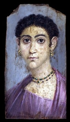 Mummy portrait of a woman, Hawara, Fayum, Egypt, AD 100-120 -- See also at: http://upload.wikimedia.org/wikipedia/commons/4/42/Fayum-13.jpg