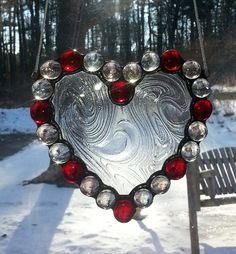 Jeweled stained glass heart by Sidelights on Etsy