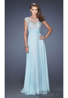 Elegant Natural Bateau Floor Chiffon Evening Dress In Stock zkdress26993