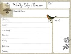 Free printable weekly blog planner from Oh the lovely things blog