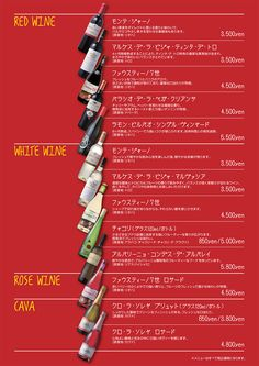 リザラン赤坂のドリンクメニュー:red wine, white wine, rose wine, cava.