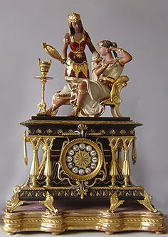 "Egyptian-Revival-clock-The Roman rule of Egypt from 30 BC to 395 AD led to Roman decorations incorporating Egyptian motifs and an increased interest in Egyptian culture. During the Italian Renaissance ""Egyptomania"" resurfaced.. read more"