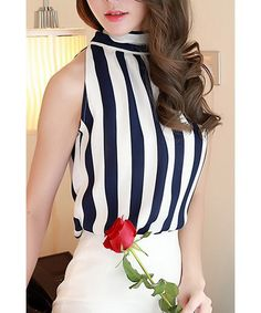Chic Stand Collar Sleeveless Striped Self-Tie Chiffon Blouse For Women