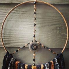 Ivory Elephant, Elephant Print, Mushroom Decor, Mushroom Art, Om Pendant, Spiritual Decor, Hippy Gifts, Buddha Beads, Boho Wall Hanging