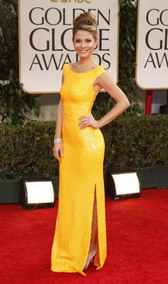 Yellow dress at the Golden Globes red Carpet 2012, Maria Menounos