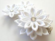 White Bridal Kanzashi fabric flower hair clip. Bridal by JuLVa