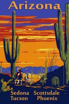 Arizona Sedona Tucson Phoenix Scottsdale Travel Vintage Poster Repro FREE S/H | eBay