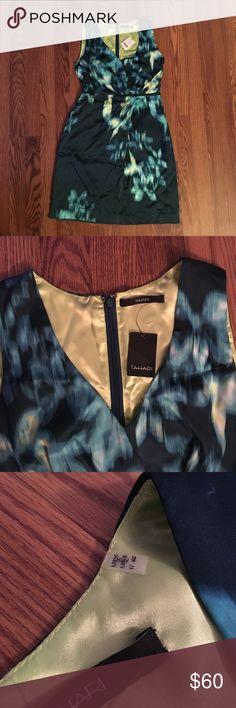 TAHARI dark green satin dress Abstract floral print dress. Never worn! Tahari Dresses