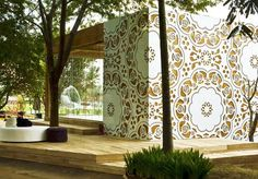 Garden House. Made of wood and laser cut aluminum...