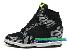 Nike Wmns Dunk Sky Hi GS Chaussures Nike Pas Cher Pour Femme Noir/Gris