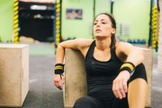 Woman having a rest after a intensive training session