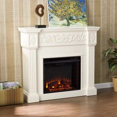 Southern Enteprises Jordan Electric Fireplace, Ivory, Beige