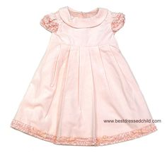 Biscotti Baby / Toddler Girls Pleated Pink Velvet Party Dresses with Ruffles and Bows