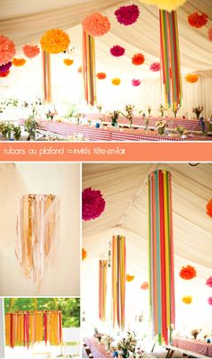 wedding pom poms and ribbons, mariage pompons et rubans