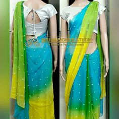 SDS-DS1 FABRICS: pure chiffon and light shimmer. Customized multi colored(cool colors from colour wheel) saree with pearls, and a simple boat neck plain blouse for a dear customer. To place an order plz inbox us or mail us at siridesignerstudio@gmail.com Thank you.