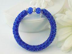 Blue Cats Eye Beaded Memory Wire Bracelet  by DebsBraceletPlace