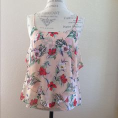 "🌸 NWOT ""Melodies"" floral chiffon top Flowy, layered chiffon tank top with adjustable straps Boutique Tops Tank Tops"