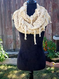 Thick Velvety Triple Infinity Scarf w/Fringe in 'Sunshine' by OhanaBoutiqueCrochet on Etsy White Hibiscus, Faux Fur Pom Pom, Ohana, Infinity, Sunshine, Boutique, Trending Outfits, Crochet, Unique Jewelry