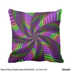 Neon Colors Flash Crazy Colorful Fractal Pattern Throw Pillow