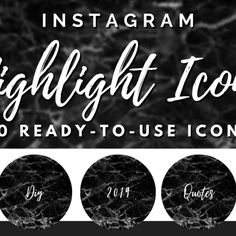 Brand your Instagram account with these handwritten black marble highlight covers 📷  This pack of includes 50 Instagram Icons and Text Highlights in a handwritten style that will take your Instagram Story Highlights to the next level!