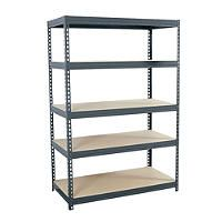 edsal D x W x H Steel Freestanding Shelving Unit at Lowe's. The Edsal is a standing five-shelf Boltless unit with a steel frame and shelves made of particle board to support up to 800 lb. of evenly Garage Shelving Units, Utility Shelves, Steel Shelving, Industrial Shelving, Basement Storage Shelves, Shelf Units, Storage Shelving, Shelving Ideas, Metal Shelves