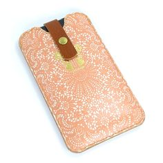 Leather iPhone / new iTouch Case Peach Lace by tovicorrie