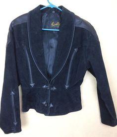 Vintage Scully Black Jacket Western Suede Genuine Leather Rodeo Biker Size 8  #Scully #BoleroShrug #Casual
