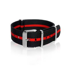 Details Nato Strap Black & Red Strips with stainless steel buckle. High quality, durable, water resistant Width: 3 size available mm / 20 mm / 22 mm) Length: 270 mm 1 mm thickness Shipping & Handl Nato Armband, Nato Strap, Omega Speedmaster, Rolex Submariner, Black Stripes, Watch Bands, Orange Color, 18th, Belt