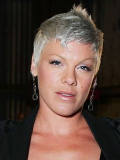 Pink The 31-year-old singer's hair color may no longer match her name, but this silver, sheared look still screams rock star.