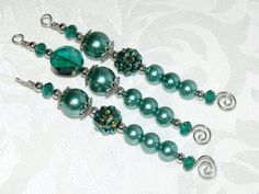 Emerald Green Beaded Icicle Ornaments  by CJKingOriginals on Etsy, $11.00