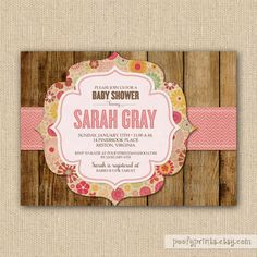 cute !Rustic Baby Shower Invitations  DIY Printable Baby by PoofyPrints, $21.00