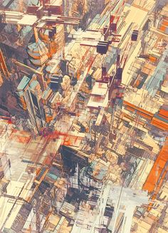 "Atelier Olschinsky (Peter Olschinsky and Verena Weiss) - Series: ""Cities"" - Mixed media #art"