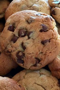 "Mom's Chocolate Chip Cookies | ""Pudding really is the miracle worker here. I made one minor adjustment... used CHEESECAKE flavored pudding instead of vanilla. Result? Cookies that people would throw punches over."" #cookies #cookierecipes #bakingrecipes #dessertrecipes #cookieideas"