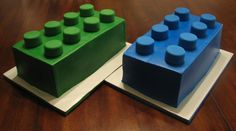 I did these cakes for two little boys who were having their Lego themed birthday party together. One block for each birthday boy. Cakes done in butter cream and the pegs were covered in fondant.