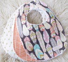 Baby Bibs - Baby Girl Bibs - Feather Bib Set - Tribal Baby Bibs - Bohemian Bib Set