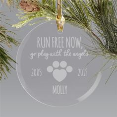 Engraved Pet Memorial Round Glass Holiday Ornament - The loss of a pet is heart breaking – memorialize them with the addition of an round glass engrav - Dog Christmas Ornaments, Memorial Ornaments, Christmas Dog, Glass Ornaments, Engraved Gifts, Personalized Gifts, Dog Shadow Box, Pet Memorial Gifts, Word Art Design