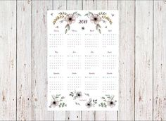 Printable calendar 2019 #printablecalendar #calendar #2019 Paper Crafts, Bullet Journal, Printables, Etsy, Tissue Paper Crafts, Paper Craft Work, Print Templates, Papercraft, Paper Art And Craft