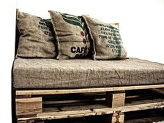 Hessian pillows made from coffee bean bags. I want to use the cushions from Nick's Nan's caravan and cover them in our wedding coffee bags Burlap Coffee Bags, Hessian Bags, Burlap Sacks, Upcycled Furniture, Pallet Furniture, Cool Furniture, Garden Furniture, Old Pallets, Recycled Pallets