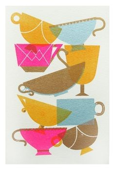 watercolor teacups