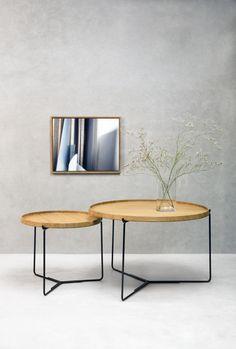 Triplo 500; bakkebord – Ø 50 / h 42 cm (eboniseret eller olieret eg/ sort stel)  Triplo 750; bakkebord – Ø 75/ h 48 cm (eboniseret eller olieret eg/sort stel)